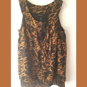 Lane Bryant Animal Print Ruffle Top Sz 18
